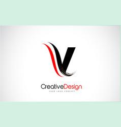 red and black v letter design brush paint stroke vector image
