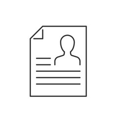 resume line icon on white background vector image