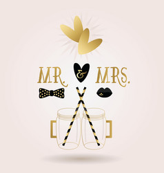 Romantic Mr and Mrs glass jars icons card vector image