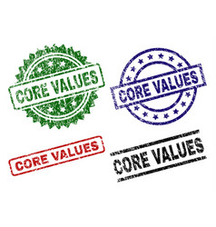 Scratched textured core values stamp seals vector