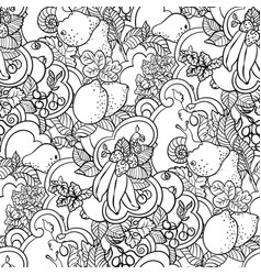Seamless pattern with fruit ornament in coloring vector