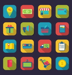 Set flat colorful icons of e-commerce shopping vector image