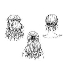 Set hand drawn hairstyles sketch fashion vector