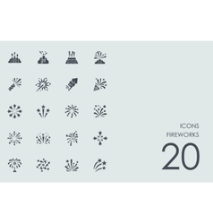 Set of fireworks icons vector image