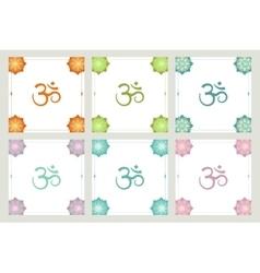 Set of frames om symbol flowers vector