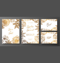 Set of gold and white wedding cards with peonies vector