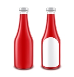 Set of Ketchup Bottle without with Round Label vector
