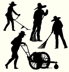 Silhouette of people gardening vector image
