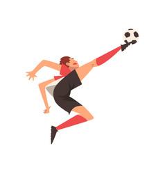 soccer player kicking ball football player vector image
