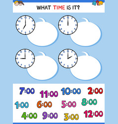 Telling time clock face educational game vector