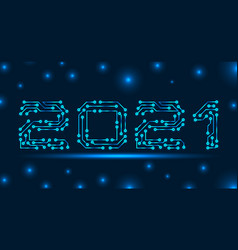 Text 2021 made in circuit texture banner vector