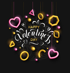 valentines day background with pink hanging hearts vector image