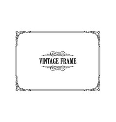 vintage calligraphic frame black and white vector image