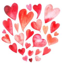 Watercolor heart set vector