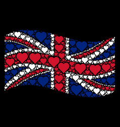 waving british flag pattern of valentine heart vector image
