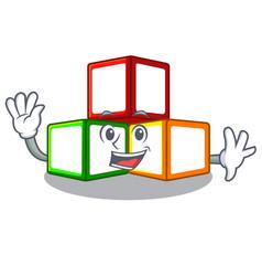 Waving toy blocks cube blank cartoon wooden vector