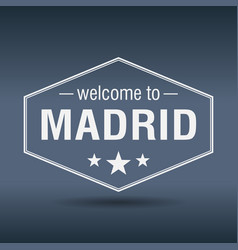 Welcome to madrid hexagonal white vintage label vector