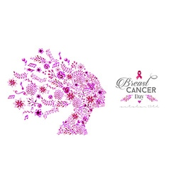 World breast cancer awareness day watercolor woman vector image