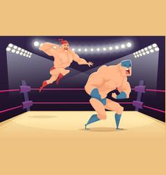 Wrestler fighters cartoon cartoon martial vector
