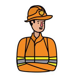 Young fireman avatar character vector