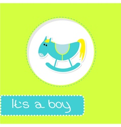 Baby boy shower card with cute horse vector image