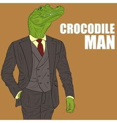 Cartoon character crocodile vector image vector image