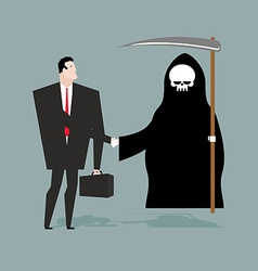 Deal with death Businessman and Grim Reaper make vector image vector image