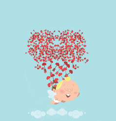 flying cupid losing his bag of heart arrows in vector image
