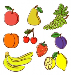 fruits collection vector image vector image