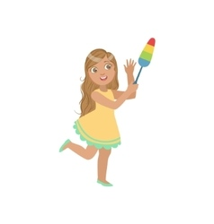 Girl cleaning up with dust brush vector