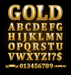 gold alphabetical letters isolated on black vector image vector image
