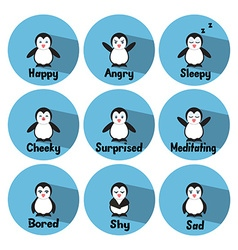 Penguin Emotions vector image vector image