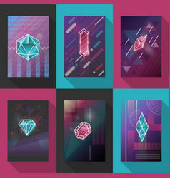 posters and pattern backgrounds set with vector image vector image