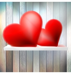 Romantic background with hearts on wood shelf vector image vector image