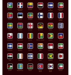 Set of buttons with flags vector