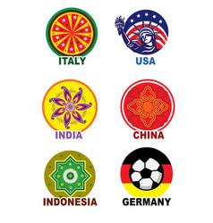 Travel landmark icon set vector
