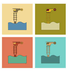 assembly flat icons people in the water helicopter vector image