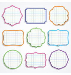 Colorful note paper shapes vector image vector image