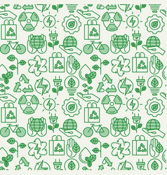 ecology seamless pattern with thin line icons vector image