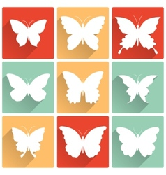 isolated butterflies icons set vector image
