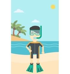 Male scuba diver on the beach vector image vector image