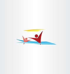 people in water swimming children on beach vector image