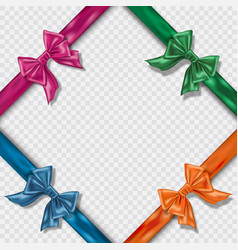 set of realistic colorful satin bows and ribbons vector image vector image