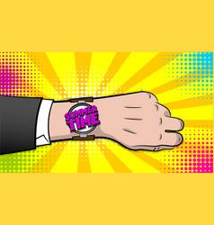 summer time hand watch comic text pop art vector image vector image