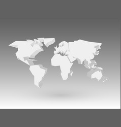 white 3d world map with dropped shadow on grey vector image vector image
