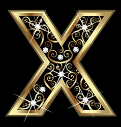 X gold letter with swirly ornaments vector image vector image