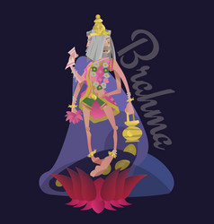 beautiful brahma born from a lotus isolated vector image