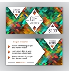 gift voucher template with triangle pattern and vector image vector image