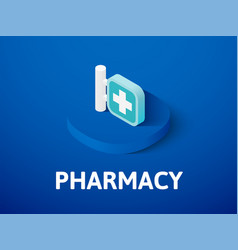 Pharmacy isometric icon isolated on color vector