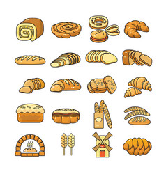 set of colorful bakery icon isolated o vector image vector image